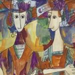 Cuatro figuras, ca. 1950s. Tempera on heavypaper / 15½ x 20 inches. Museo Nacional de Bellas Artes Collection, Havana