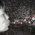 Susurro, 2014. From Imagen no palabra series Acrylic on PVC, silkscreen on clear acetate / 6 x 12 ft. Cancio Collection. Photo: Alain Gutiérrez