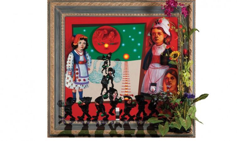 si-5-Segundo-Planes.--Entre-duendes-y-cielo-verde,-acrílico-y-óleo-sobre-tela-sobre-madera-y-flores.-154-X-164-cm.-2012.